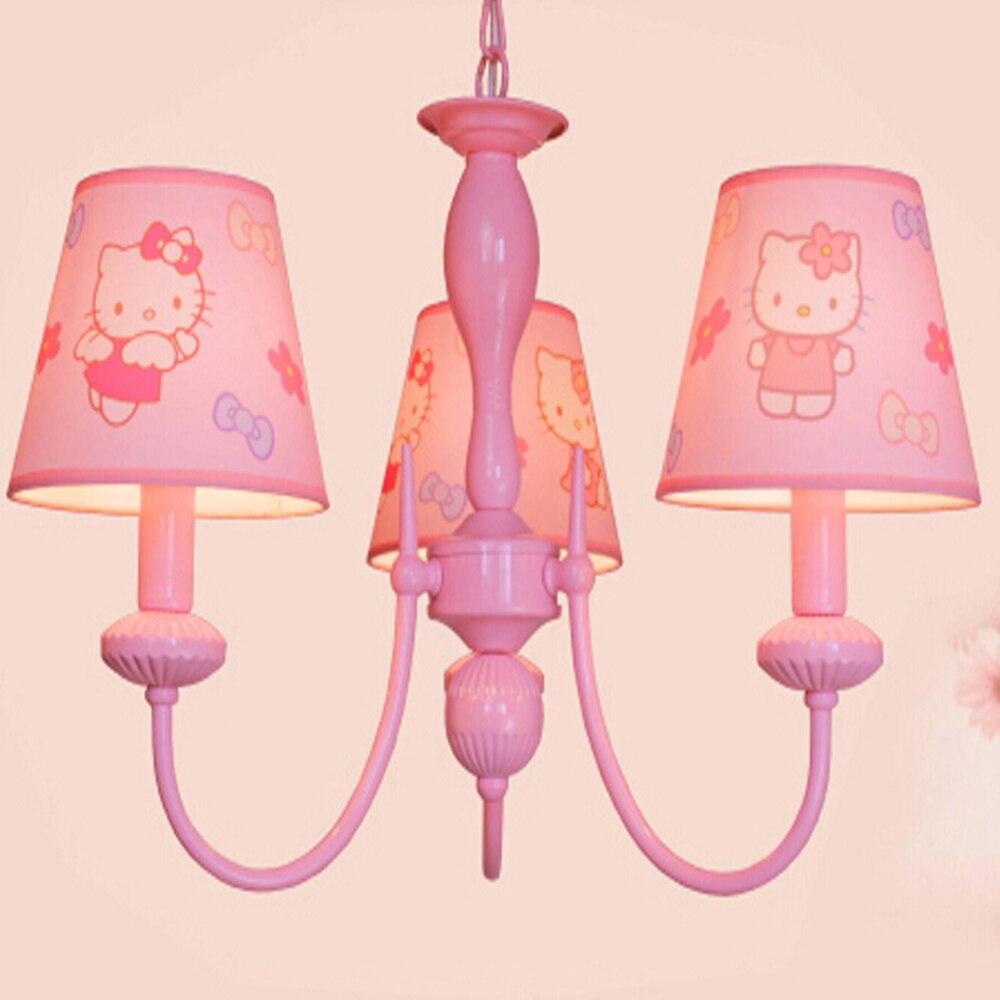 ФОТО High Quality Kids Room Cartoon Led Pink Chandelier 110V-220V Led E14 Home Lighting Suspension Chandelier Baby 3/5/6Lamp