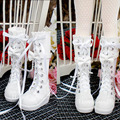 Bjd Shoes Bjd Doll Sd Doll Shoes Beaded Bow Lace White Strap Medium-Leg Boots For Bjd 1/4 1/3 Doll