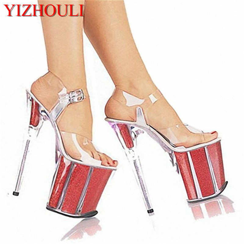 Ladies Sexy Party Heels Wedding Shoes Platform Crystal Shoes 20CM Ultra High Heels Sandals 15cm ultra high heels sandals ruslana korshunova platform crystal shoes the bride wedding shoes