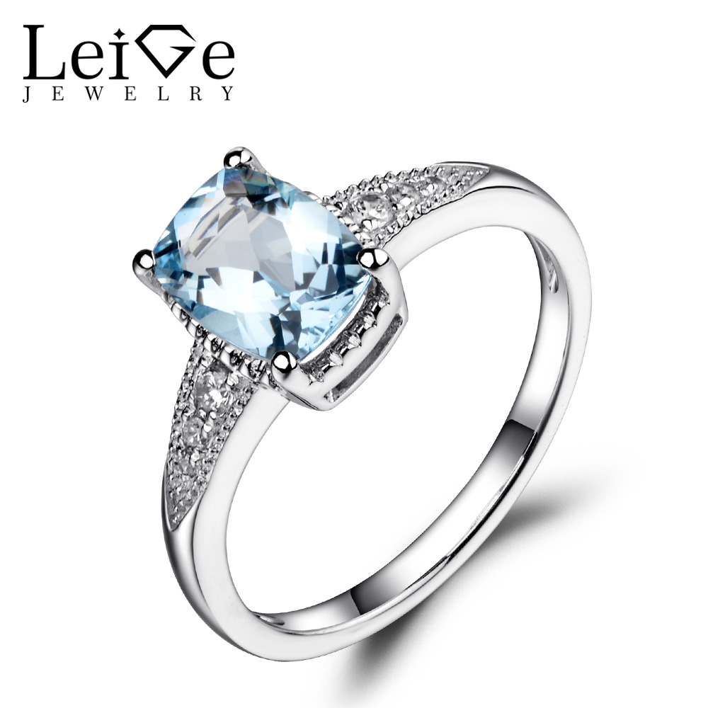 Leige Jewelry Natural Aquamarine Ring Wedding Engagement Rings for Women Blue Gemstone Sterling Silver 925 Fine Jewelry