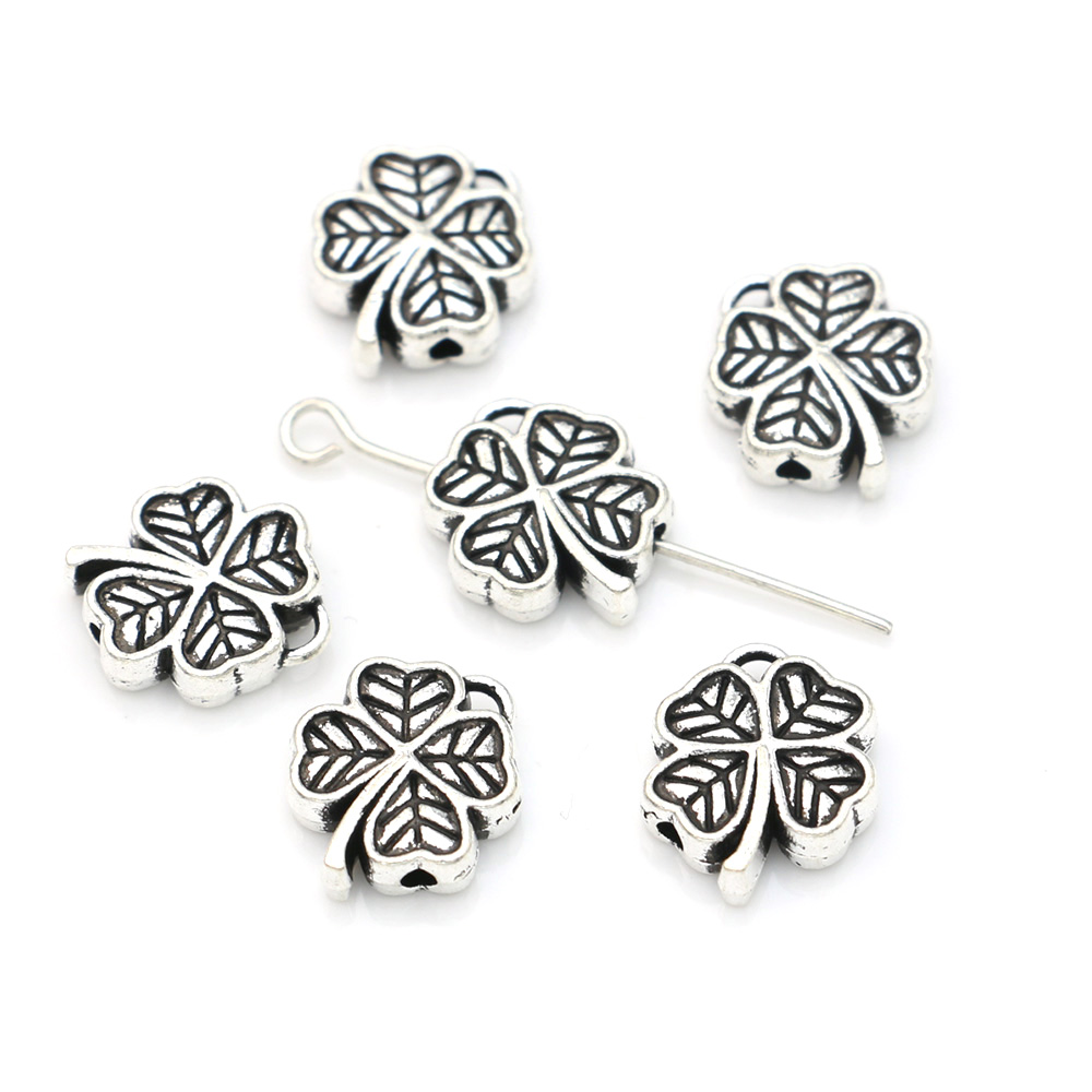 JAKONGO Lucky Clover Spacer Beads Antique Silver Plated Loose Beads for Jewelry Making Bracelet DIY Handmade Craft 15PCS 11mm(China)