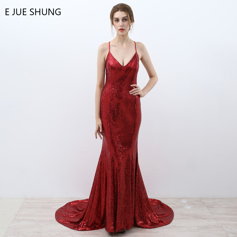 E JUE SHUNG Red Sequin Mermaid Evening Dresses