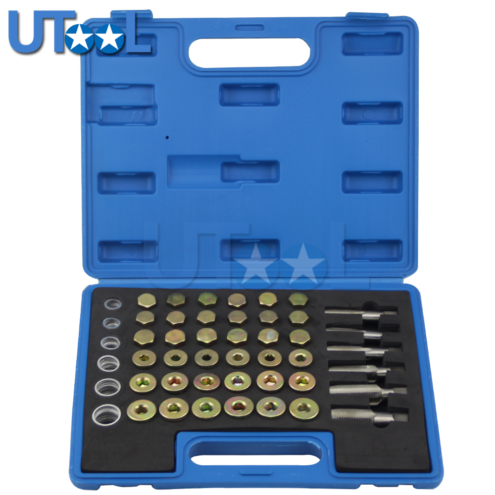 114pcs Oil Pan Drain Sump Plug Key Set Thread Repair Tool Kit Set Drain Plug Tool