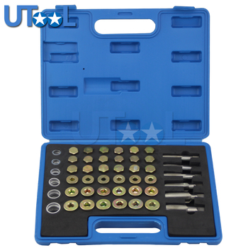 114pcs Oil Pan Drain Sump Plug Key Set Thread Repair Tool Kit Set Drain Plug Tool