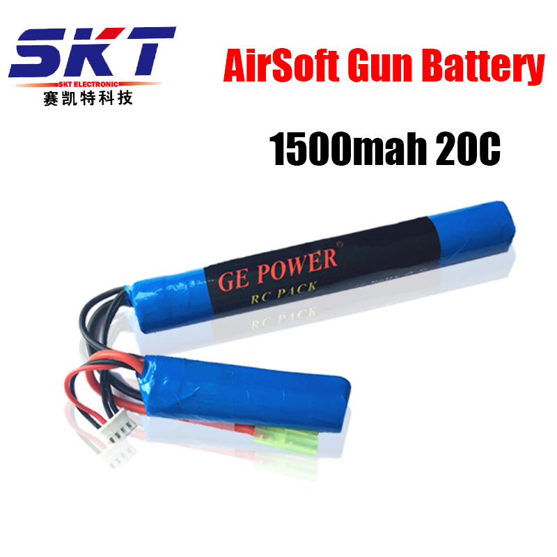 2017 Good Quality GE Power RC Lipo battery 11.1V 1500MAH 20C 2 cell AKKU Mini Airsoft Gun Battery RC model 40C Free Shiping