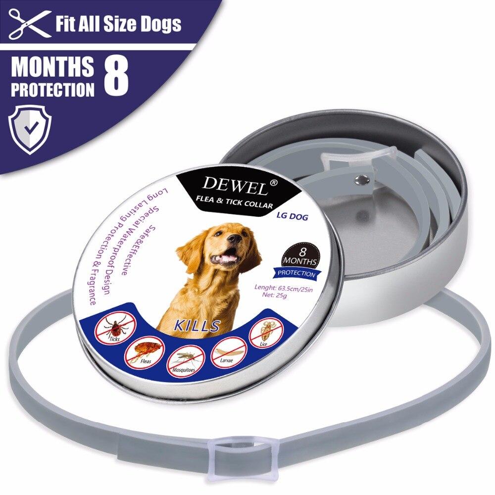 Dewel pet coleira do cão anti pulga carrapatos mosquitos ao ar livre de proteção ajustável pet collar 8 meses proteção a longo prazo