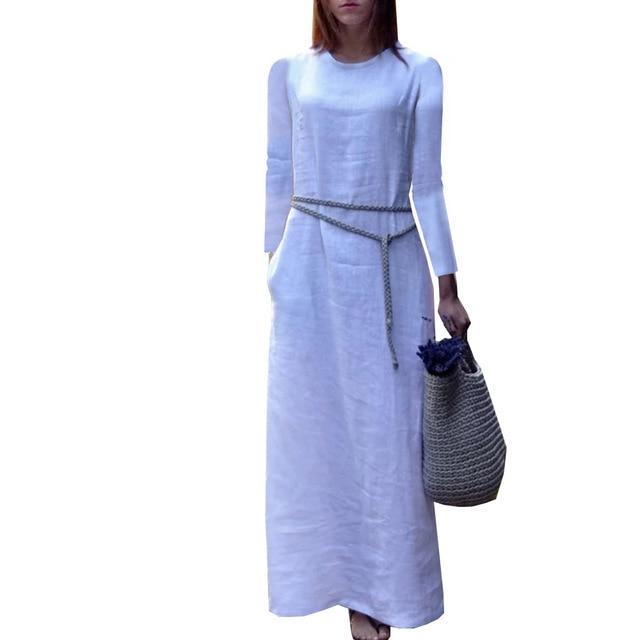 91ee43f9318 Zmvkgsoa Sexy Women Vintage Boho Dresses Casual New Cotton Linen Long  Sleeve Maxi Dress Pure Color o-neck Split Y10221