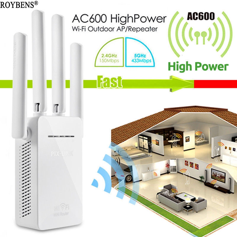 Wifi Repeater Signal Amplifier Wireless 4G Router Dual Band Wi fi Range Extender Booster Network Wi Fi 4 Antenna Wireless Router-in Wireless Routers from Computer & Office