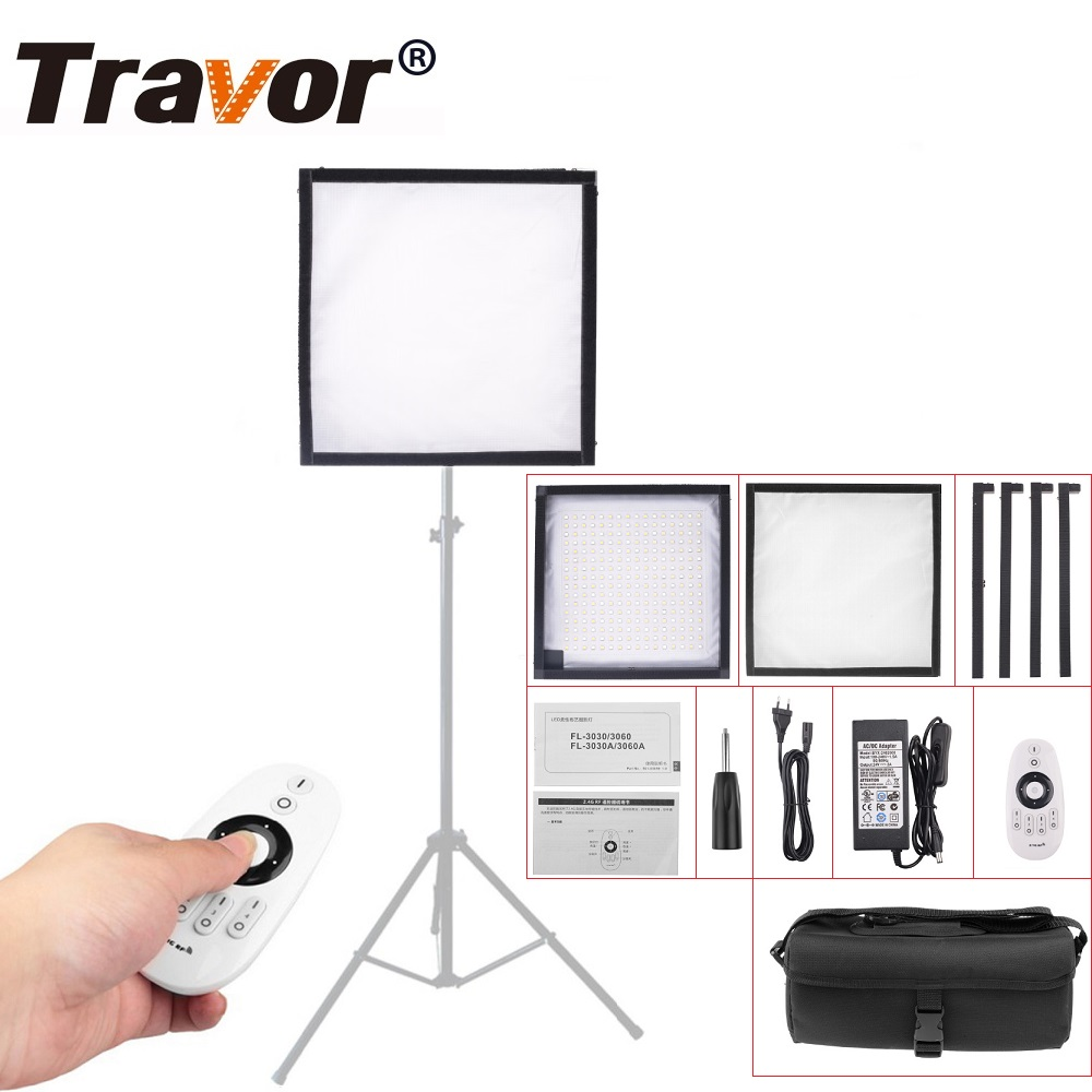 Travor FL-3030 LED Video Light Flexible Panel Light Dimmable Daylight 5600K Studio Photography Light With 2.4G Remote Control travor flexible led video light fl 3060 size 30 60cm cri95 5500k with 2 4g remote control for video shooting