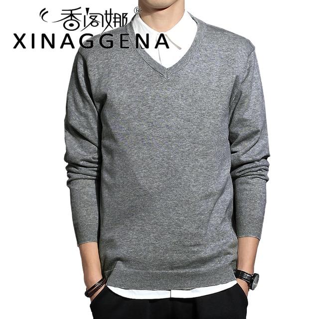 V Neck Full Sleeve Inner Basic Men Sweater Solid Slim Fit Knitting School  Style Casual Winter