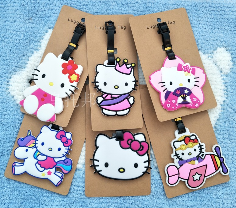 Kt Travel Accessories Kt Cat Cute Kt Soft Rubber Solid Luggage Tag Checked Cardholder Identification Suitcase Label