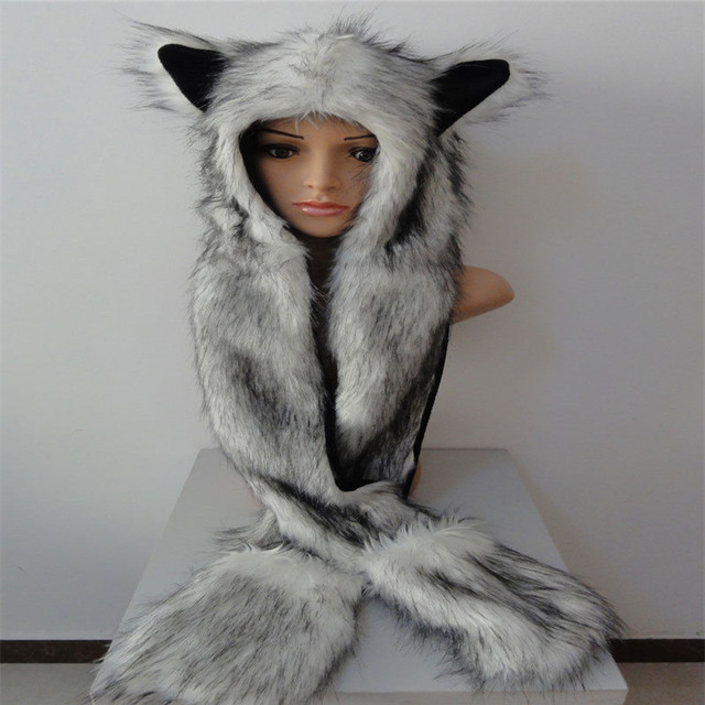 Faux Fur Hood Animal Womens Mens Hat Ear Flaps Hand Pockets 3 in 1 Hat Wolf Plush Winter Warm Cap with Long Scarf Mittens Gloves