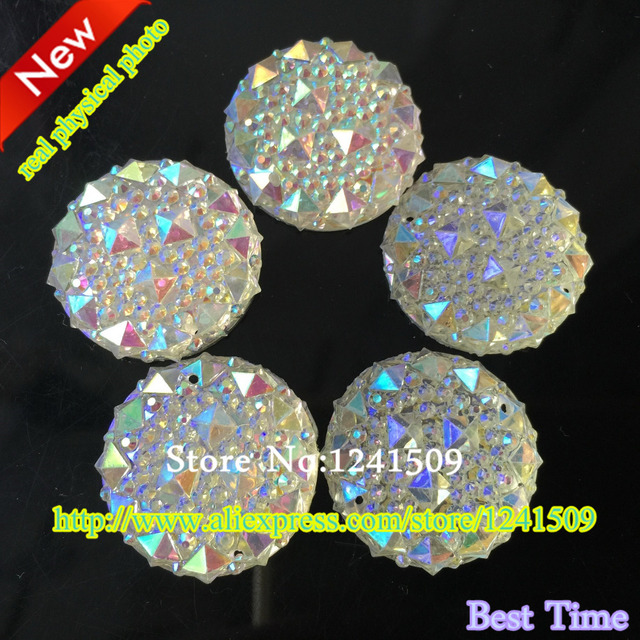 Free Shipping 25mm 60pcs White AB Round Resin Rhinestone Sew On Dress Bags  Shirt Strass Clothes Shoes DIY Acrylic Accessory 32b737b13638