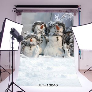 Image 1 - Photography Backdrops Christmas Snowman Heavy Snow   Kids Adults Merry Christmas Portraits Photo Background