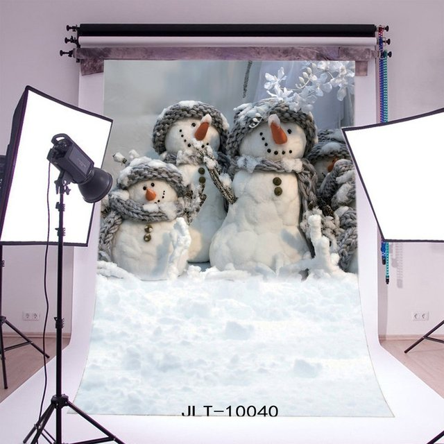 Photography Backdrops Christmas Snowman Heavy Snow   Kids Adults Merry Christmas Portraits Photo Background