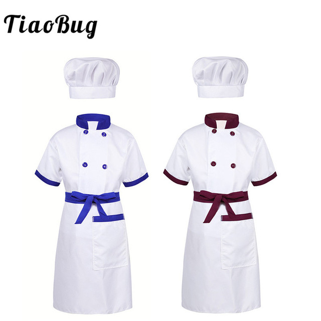 84482541814 TiaoBug niños adolescentes Unisex Chef uniforme chaqueta con delantal  sombrero conjunto Halloween disfraz para niños Cosplay