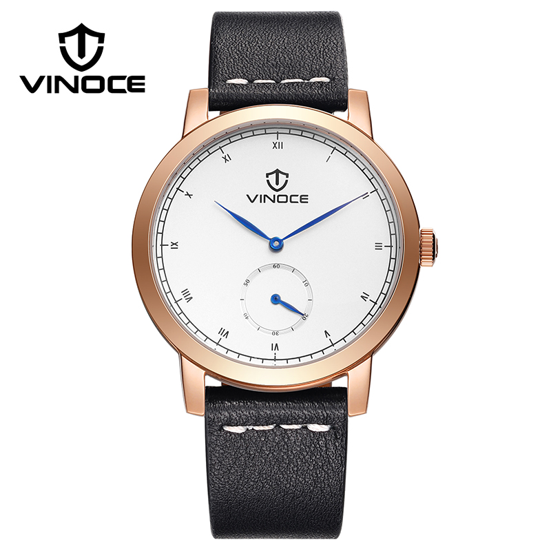 VINOCE 2017 Watches Men Fashion Religion Masculino Clock Man  Luxury Genuine Leather Strap Quartz Wrist Men's Watches #V3273G 2017 new brand fashion army camo baseball cap men women tactical sun hat letter adjustable camouflage casual snapback cap