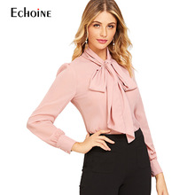 2019 New Fashion Casual Spring Solid Bow Neck Chiffon vintage Women blouse shirt Elegant Lantern sleeve tie blusa feminina Tops foldover neck belted bow tie sleeve blouse