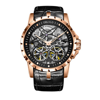 2019 OBLVLO Mens Military Watches Automatic Watches Waterproof Rose Gold Skeleton Watch Brown Leather Strap Montre Homme OBL3606 - OBL3606RSBW