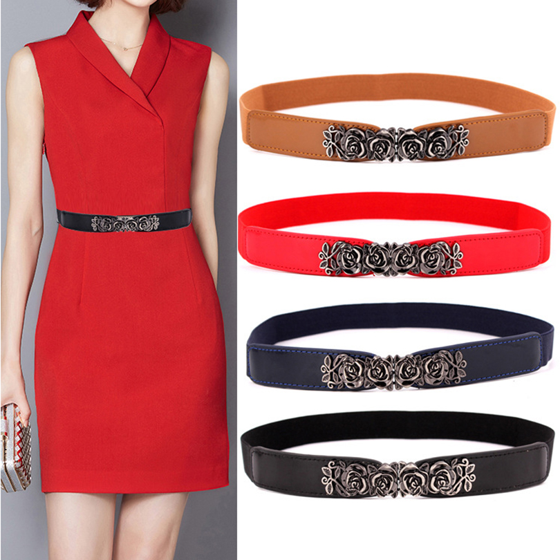 Fashion Women's Belt Elastic Waistband Gold Circle Buckle Small Belts Red Thin Cummerbund Woman Belt Strap Brown 2019 New