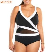 2b7e06012bb 2018 New Plus Size One Piece Suit for Women Sexy Black White Hollow Mesh Swimsuit  Swimwear Summer Beach Bathing Suit Monokini