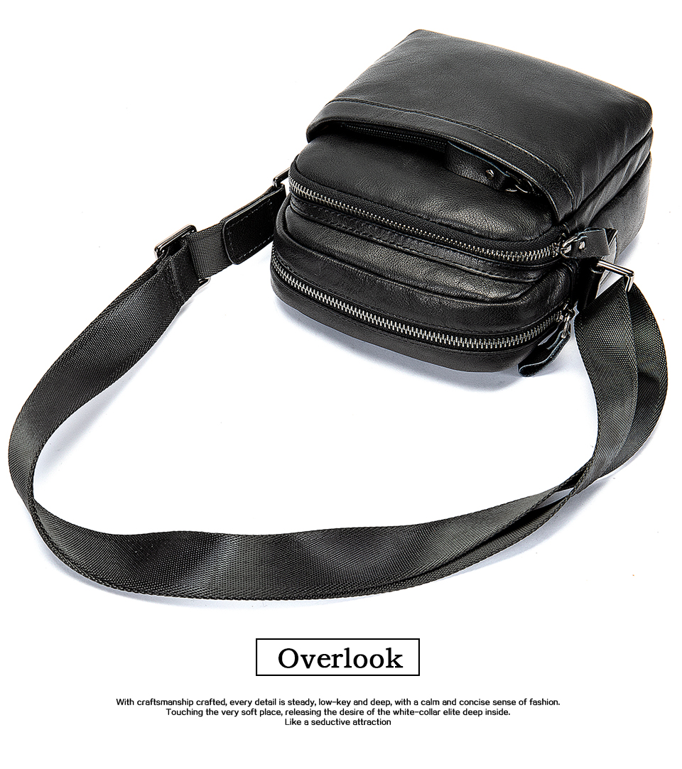 Men's Shoulder Bag for Men Crossbody Bags Genuine Leather Flap Small Male Bussiness Handbags with Zipper Messenger Bag 14