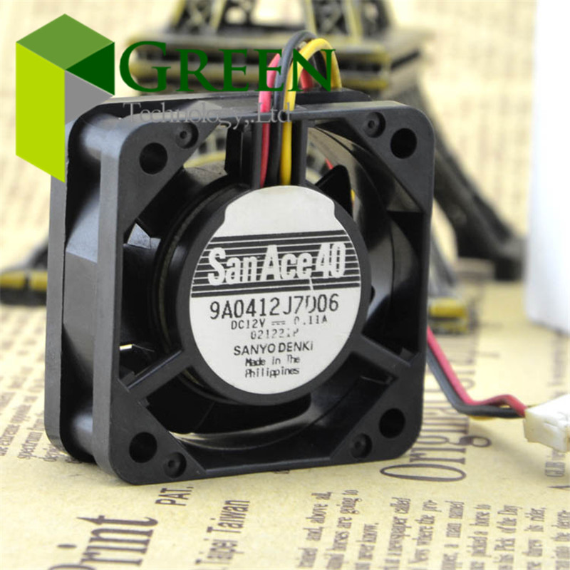 5PCS SANYO 4015 4cm 40mm 40*40*<font><b>15MM</b></font> 12V 0.11A 9A0412J7D06 SAN ACE 40 Server case cooling <font><b>fan</b></font> with 3pin image