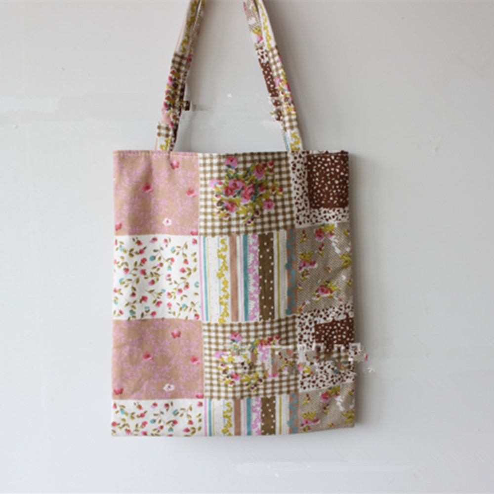Brand New Handmade Cotton Linen Shopping Bag Carrying Tote Print Square Flower Pink D07 3d flower print square beach throw