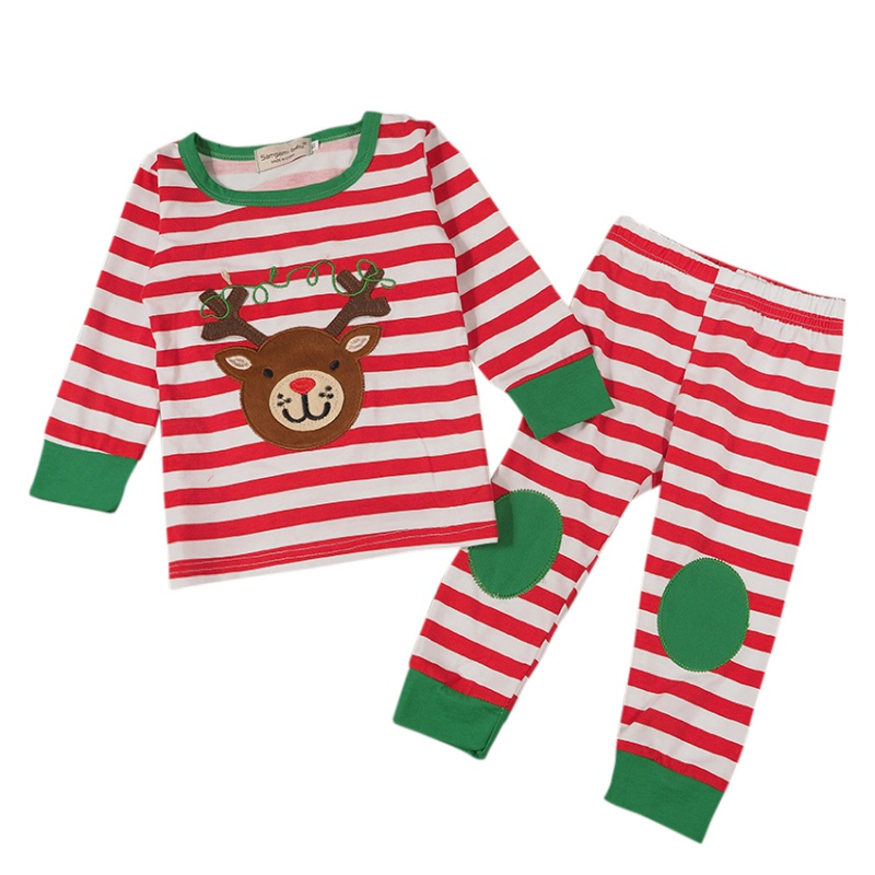 Fashion Baby Kids Xmas Suit Cute Boys Girls Set Long sleeves pants Christmas Stripe Sets 2pcs ...