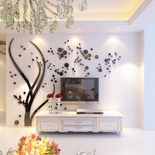Creative Mirror 3D Wall Stickers Crystal Acylic Wall Decals Tree Sofa Background Living Room Wallpaper Home Decorations Sticker(China)