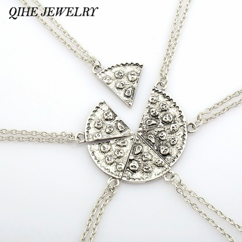 QIHE JEWELRY 6PCS Antique Silver Pizza Necklace Clavicle Chain Best Friend BFF Amicizia gioielli gioielli regalo di Natale