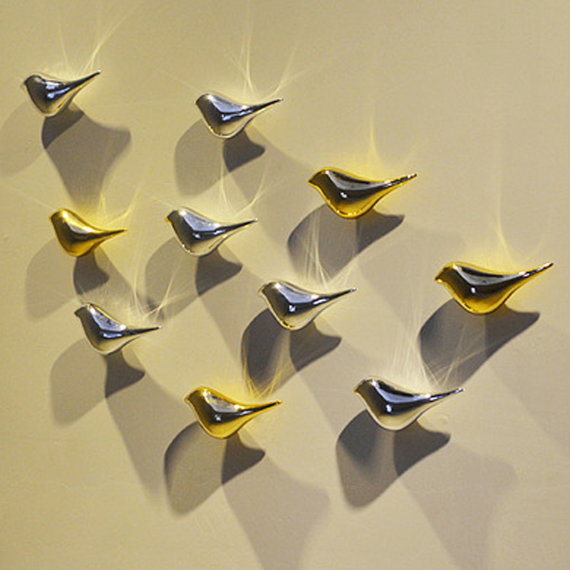 3D Resin Birdie Wall hanging decor craft home decorative sliver ...