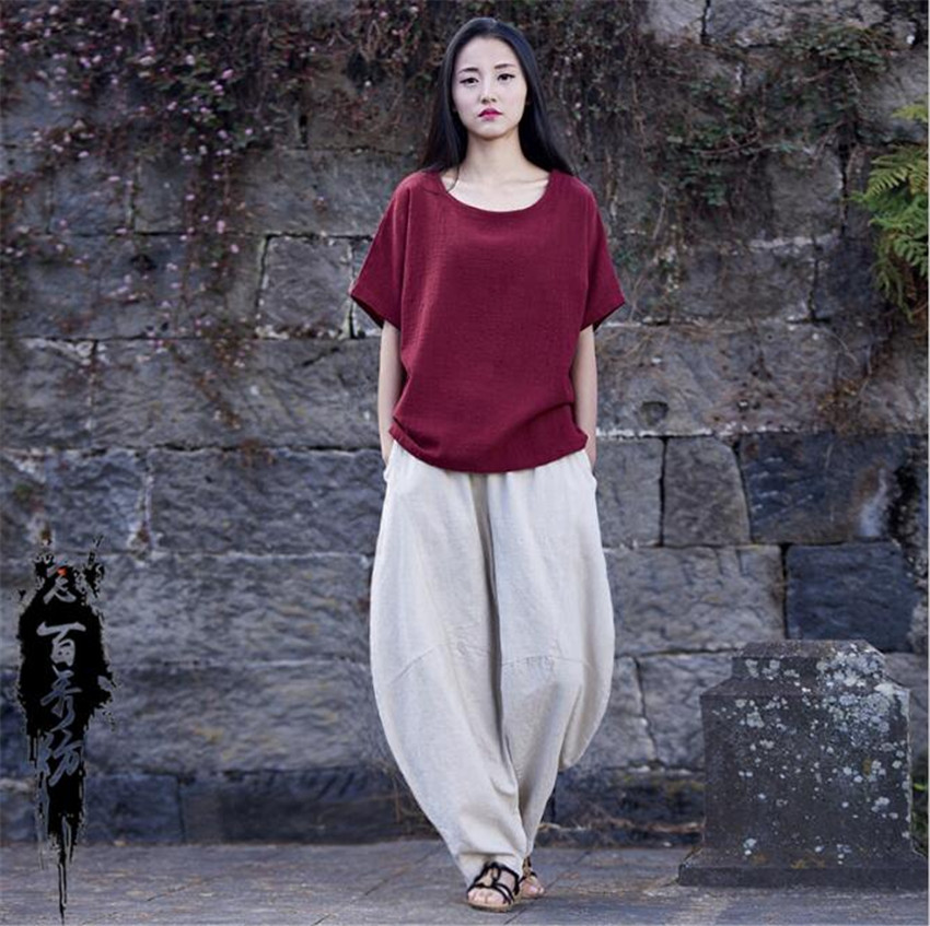 MLCRIYG 2018 D'été Lin Femmes de Corde tirant Salon loisirs large jambe pantalon