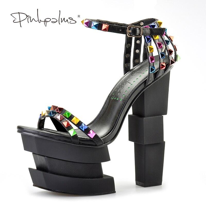 Rose palmiers femmes chaussures d'été style étrange chaussures à talons hauts sandales à talons compensés rivets colorés peep toe sangle sandales-in Sandales femme from Chaussures    1