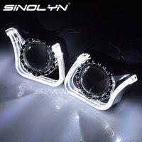SINOLYN 3.0 Super HID Bixenon Lenses Headlight Car Projector Lens Square U LED Angel Eyes Halo Daytime Running Lights Headlamp