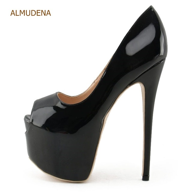 e990cef4d74 ALMUDENA Fantastic Nude Black Patent Leather Ultra High Heel Shoes 16cm Heel  Wedding Shoes Platform Stiletto Heels Open Toe Shoe