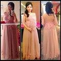 2016 Mulheres Livres do Transporte Vestidos de Noite Champagne Tulle Longo vestido de Festa Vestido de Noite de Maternidade Vestido Rosa Lace Apliques Prom Dress