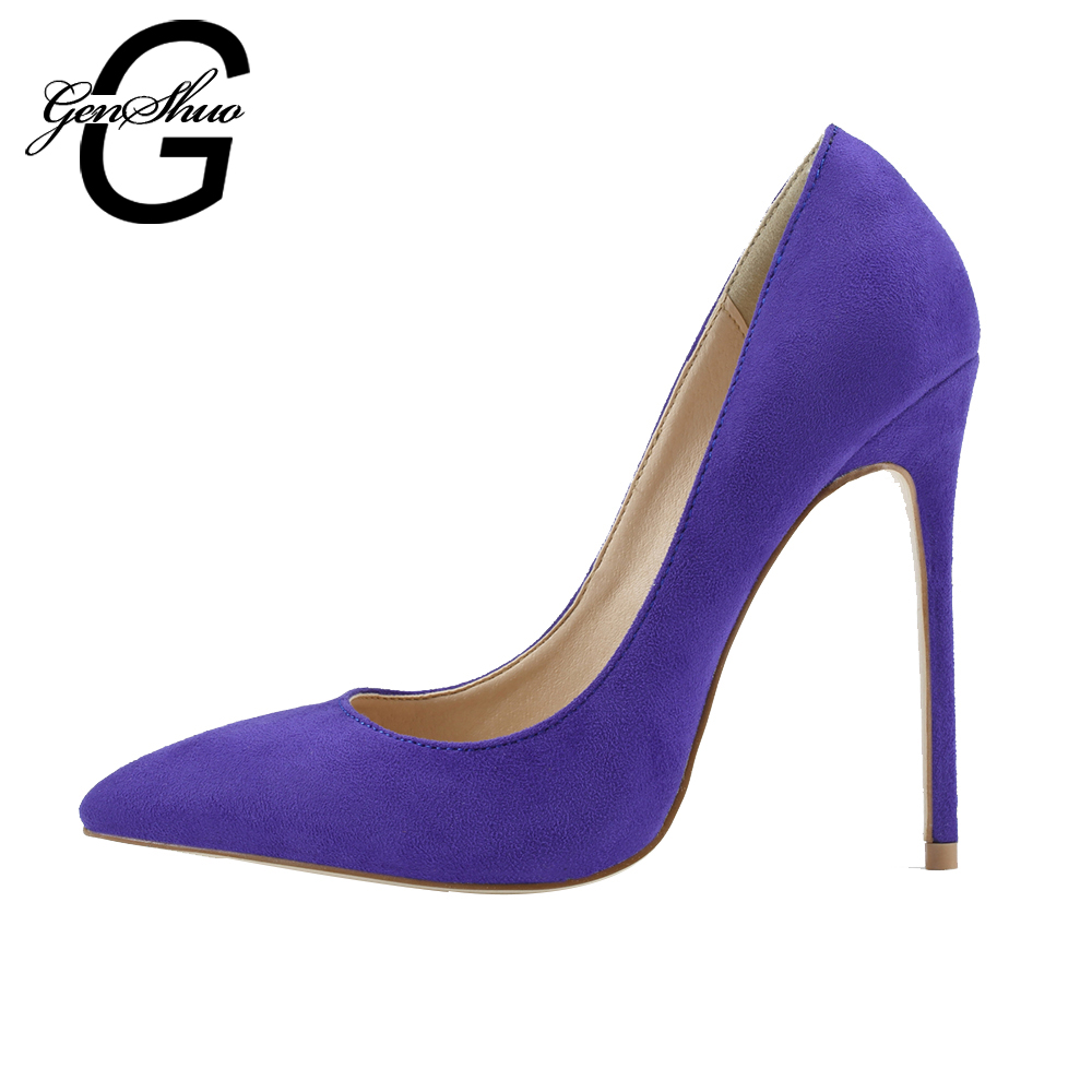 GENSHUO 2017 Sexy Women Pumps Purple Flock Especially iro heel High Wedding Bottoms Pointed Toe High Heel Sandals High Sole iro w15091464233