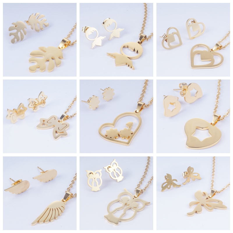 Yunkingdom Jewelry-Sets Necklace Stainless-Steel Butterfly Girls Heart Women for And