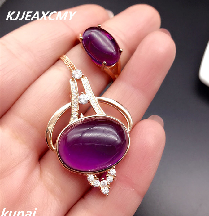 KJJEAXCMY Fine jewelry, New year explosion paragraph 925 silver inlaid Amethyst female suite, simple and generous wholesale