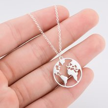 World Map Necklace Earth Day Gift For Best Friends Wanderlust Pendants Personalized Fashion Outdoor Necklace Best(China)