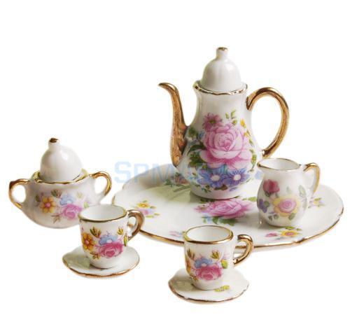 NEW ARRIVAL Children's Classic Toys 8pcs Dollhouse Miniature Dining Ware Porcelain Tea Set Dish Cup Plate -Pink Rose  HOT SALE