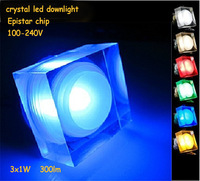 DHL UPS Free Shipping 3W Led Downlight Acrylic Crystal Square Recessed Residential Dinning Room Cabinet Led