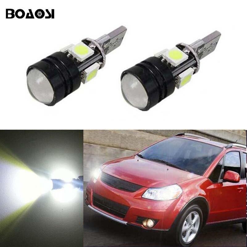 BOAOSI 2x T10 W5W 5050 4smd + 1.5W CANBUS LED Parking Light Marker Lamps Bulb For Suzuki Grand Vitara Sx4 Swift Jimny Alivio Drl