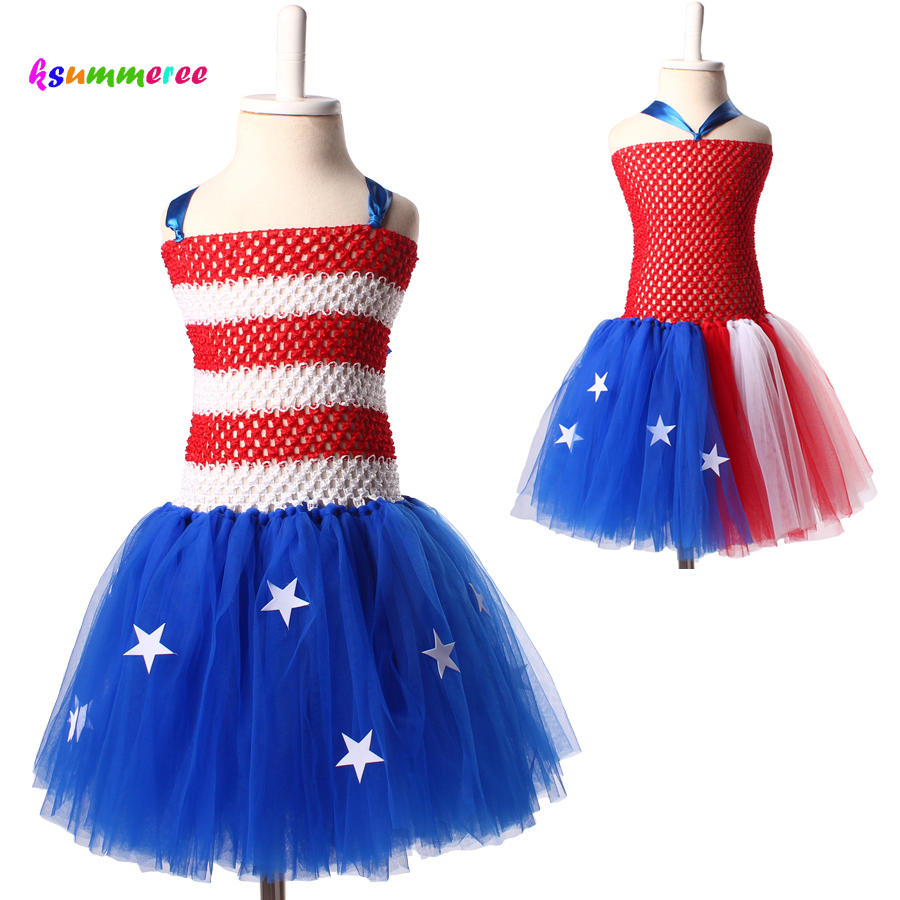 Ksummeree 4th of July Girls Tutu Dress American Flag Tutu Dress Baby Girl Patriotic Photo Prop Birthday Party Costume TS124 patriotic american flag wrap cover up dress