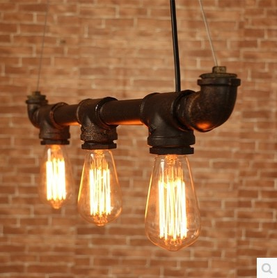 65CM Retro Loft Style Vintage Industrial Lighting Pendant Lights With 6 Edison Bulb Light Fixtures , Water Pipe Lamp iwhd loft style creative retro wheels droplight edison industrial vintage pendant light fixtures iron led hanging lamp lighting