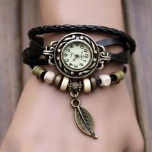 COXRY Cheap High Quality Weave Wrap PU Leather Bracelet Watches For Women Leaf Beads Quartz Watch Women Luxury Brand Wrist Watch
