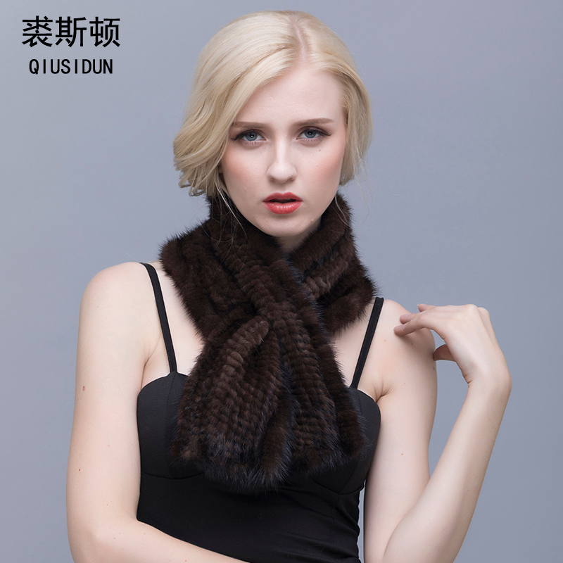 Право крзно минк плетени шал плетени шал правокутни нови модерни мушкарци и жене женске топле зимске мараме