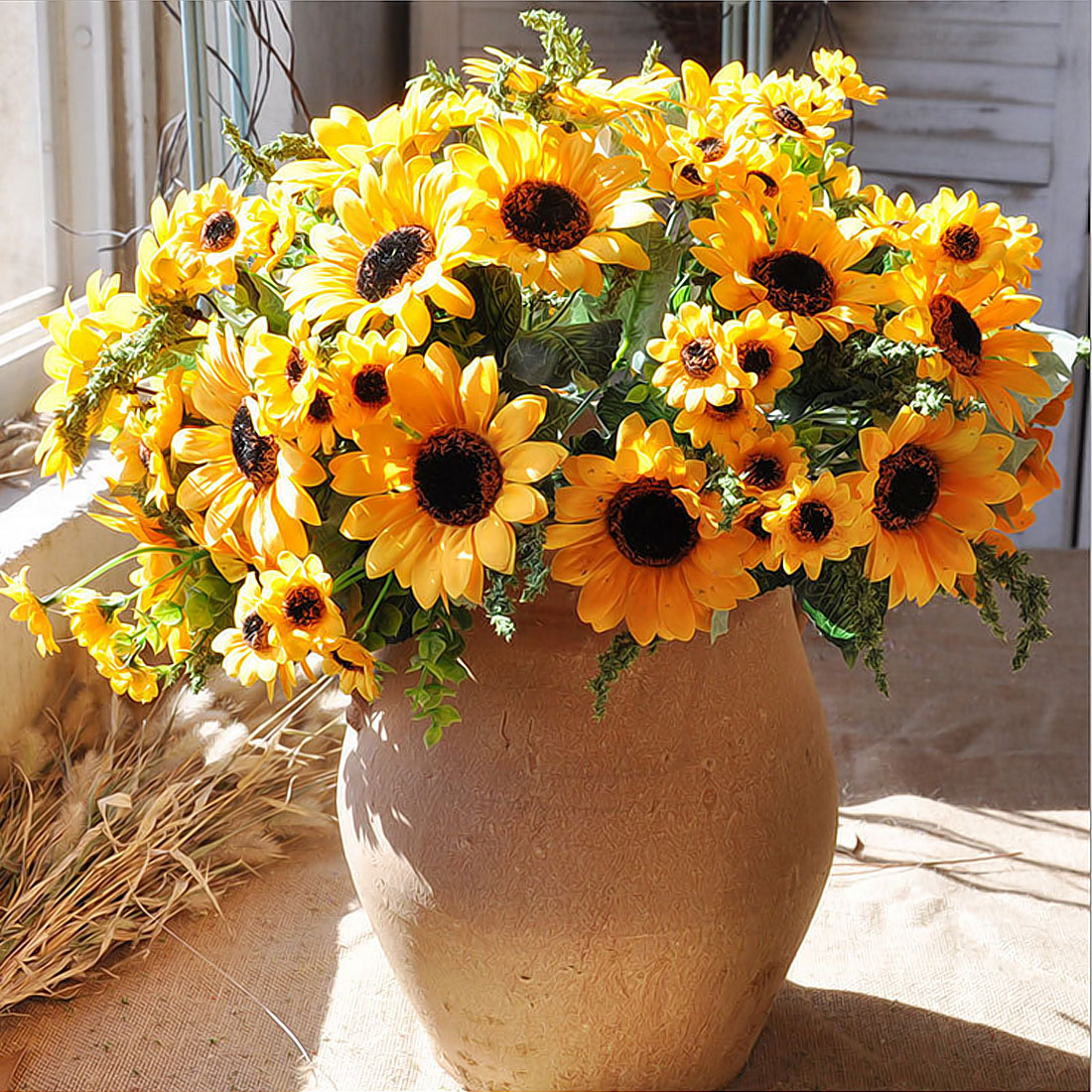 High Quality 1 bouquet Yellow Silk Sunflower Home Table ...