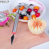 PREUP Watermelon Melon Fruit Carving Knife Cutter Gadgets Ice Cream Dig Ball Scoop Spoon Baller DIY Assorted Cold Dishes Tool